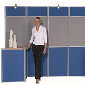 woman with exhibit stand