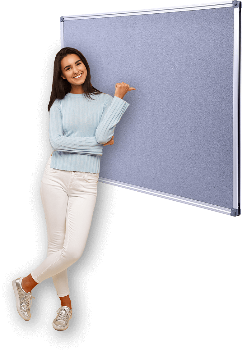 girl with pinboard